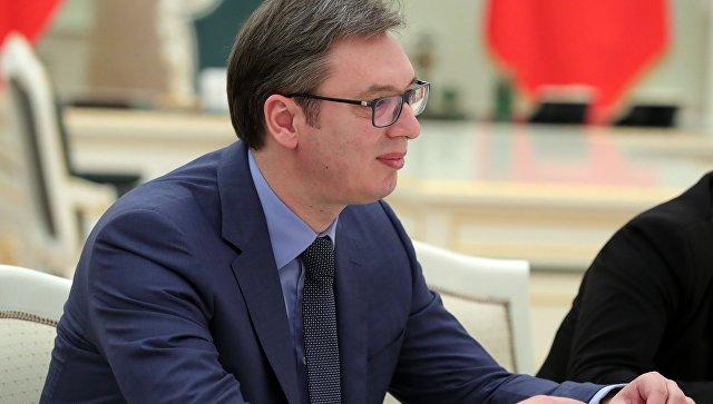 Председатель правительства Сербии Александр Вучич во время визита в Москву. 27 марта 2017 года