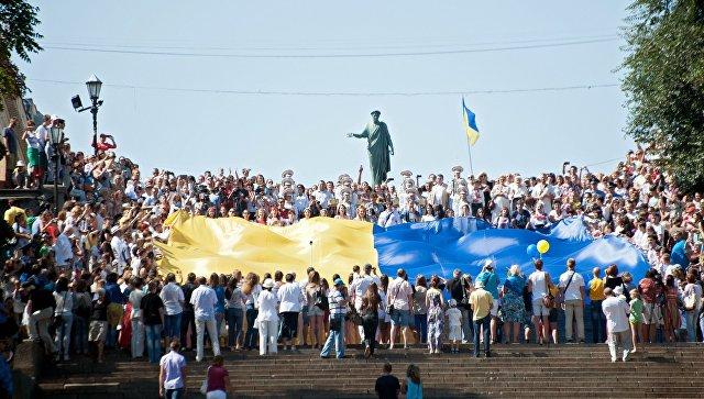 Празднование Дня государственного флага Украины в Киеве. Архивное фото