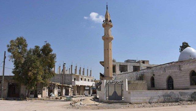 Разрушенные здания на одной из улиц города Дейр-Хафир в провинции Алеппо. Архивное фото