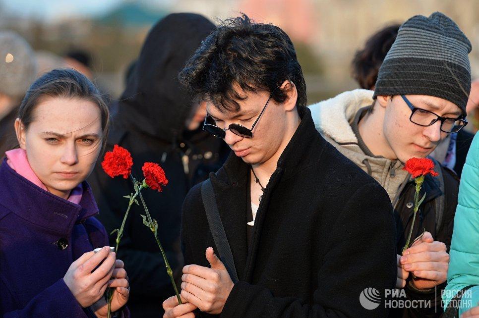 Участники акции Вместе против террора в Казани