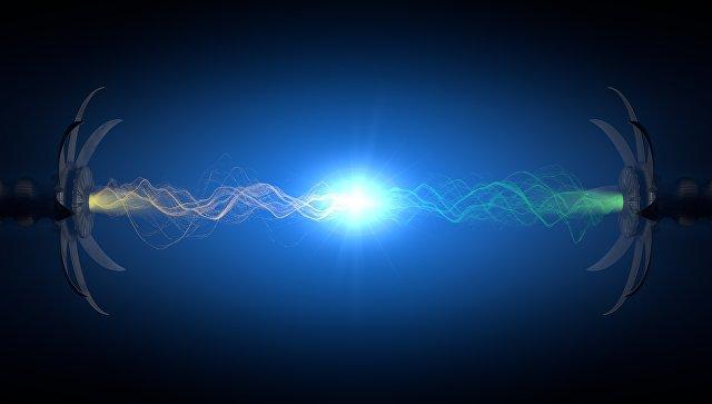 Стокновение сверхмалых частиц . Архивное фото