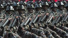 Военнослужащие специальных тактических войск КНДР на параде в Пхеньяне. 15 апреля 2017 года