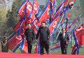 Глава КНДР Ким Чен Ын во время торжественной церемонии открытия жилого комплекса на улице Рёмён в Пхеньяне