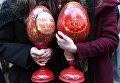 Пасхальные яйца на арт-фестивале для журналистов МедиаПасха в Москве