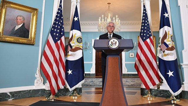 Госсекретарь США Рекс Тиллерсон во время пресс-конференции по иранской ядерной программе. Архивное фото