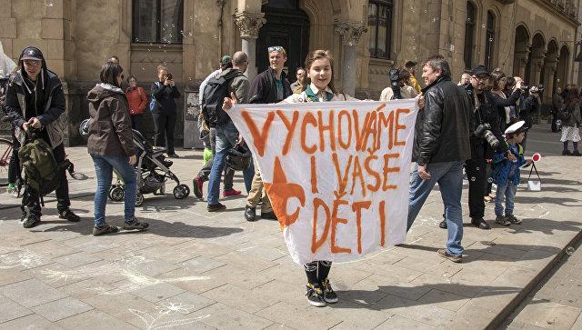 16-летняя Луция Мысликова на митинге неонацистов в чешском городе Брно. Архивное фото