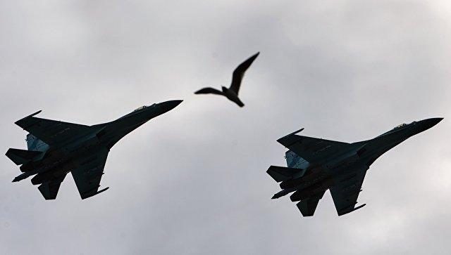 Самолеты-перехватчики Су 27 в Санкт-Петербурге