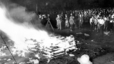Сожжение книг, не соответствующих идеологии национал-социализма, на Оперной площади в Берлине