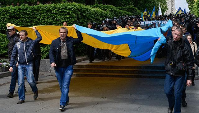 Марш участников Организации украинских националистов С14 (запрещенная в России), протестующих против акции Бессмертный полк в Киеве. 9 мая 2017