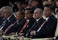 Президент РФ Владимир Путин и председатель КНР  Си Цзиньпин на церемонии открытия Международного форума Один пояс, один путь в ходе рабочей поездки в Китай. 14 мая 2017
