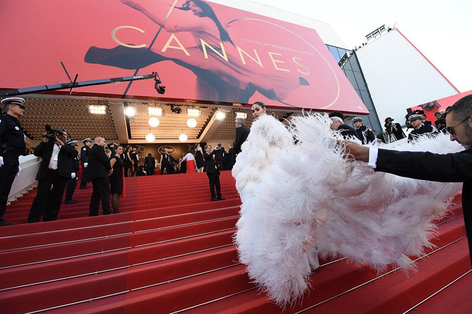 Тайская актриса Арая Альберта Харгейт на красной дорожке церемонии открытия 70-го Каннского международного кинофестиваля