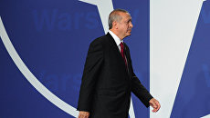 Президент Турции Реджеп Тайип Эрдоган на саммите НАТО. Архивное фото