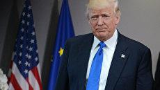 Президент США Дональд Трамп перед началом встречи в Брюсселе с лидерами Европейского совета, 25 мая 2017