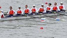 Российская команда на соревнованиях по академической гребле среди женских восьмерок. Архивное фото