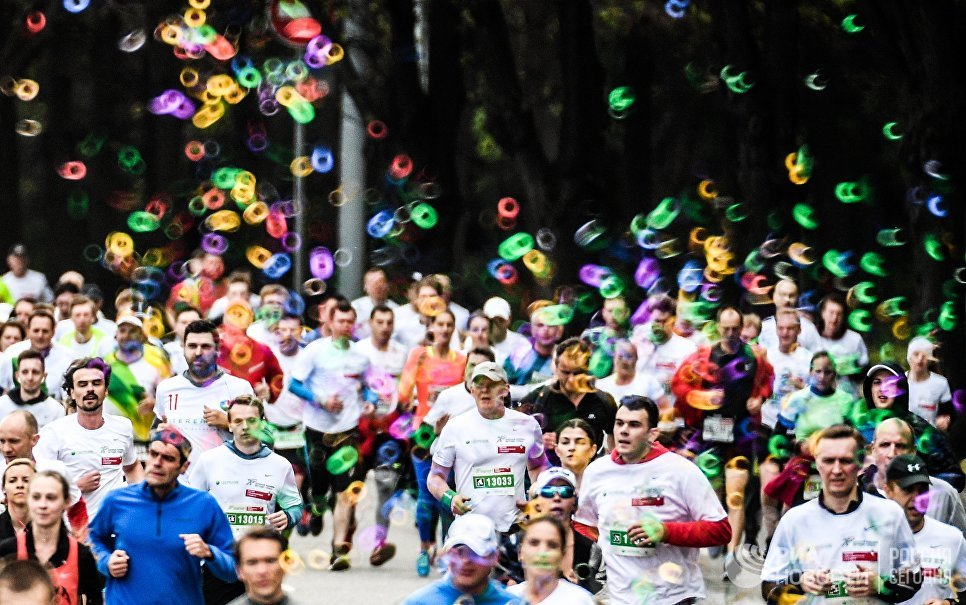 Участники благотворительного зеленого марафона Бегущие сердца