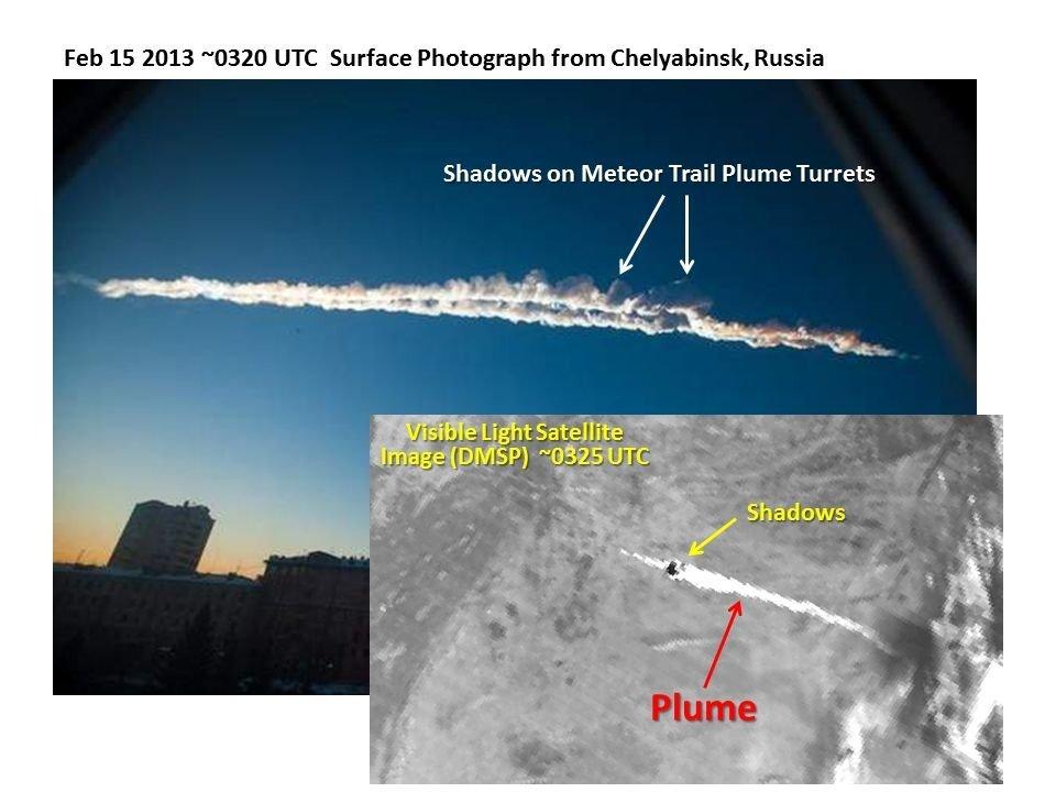 Картинки по запросу Спутниковый снимок шлейфа, оставленного Челябинским болидом, в сравнении с фотографией с земли