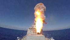 Кадры пуска крылатых ракет Калибр по позициям ИГ из Средиземного моря