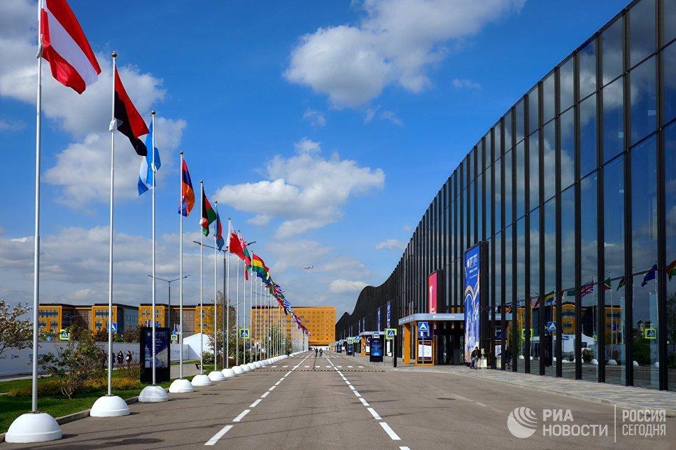 Флаги стран-участниц у Экспофорума перед началом Санкт-Петербургского международного экономического форума-2017