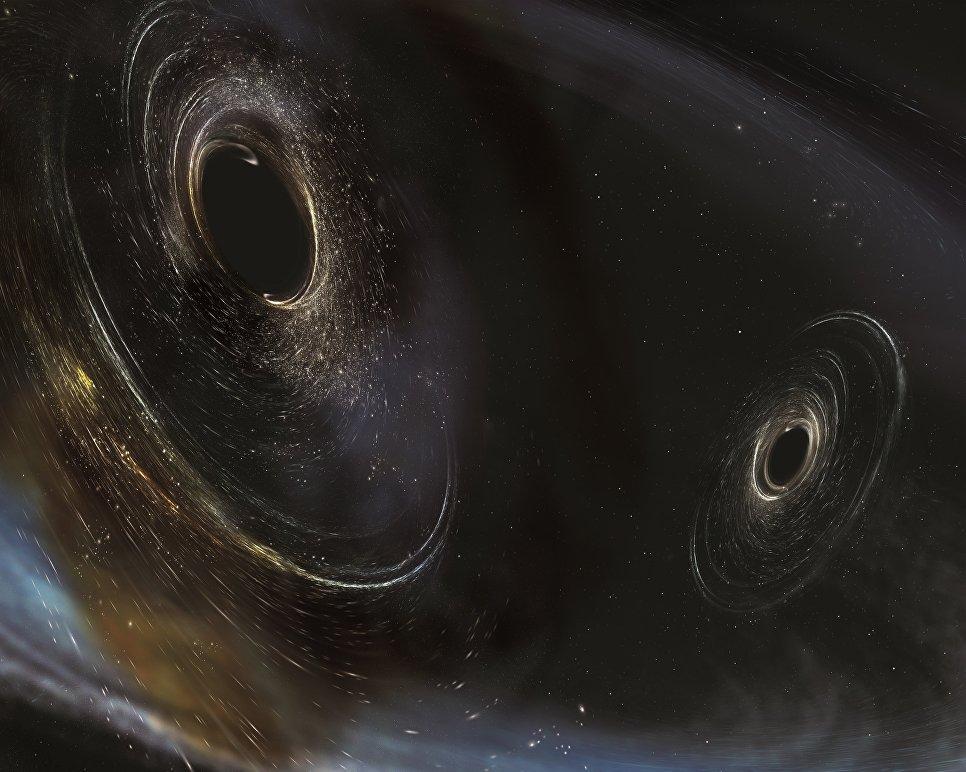 Так художник представил себе черные дыры в 3 миллиардах световых лет от Земли