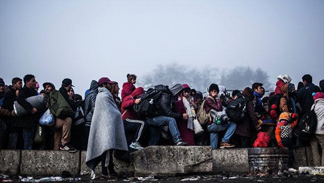 Беженцы на границе Словении и Австрии. Архивное фото