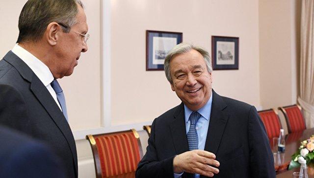 Министр иностранных дел РФ Сергей Лавров и генеральный секретарь ООН Антониу Гутерриш. Архивное фото