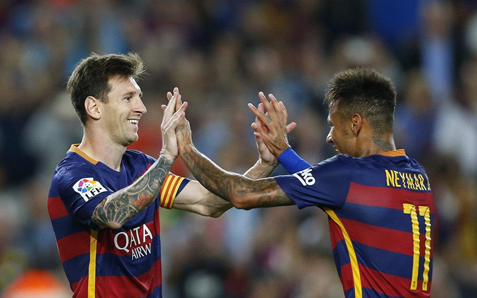Игроки Барселоны Лионель Месси и Неймар