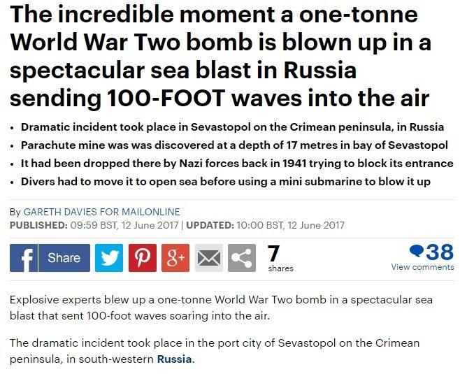 Английское печатное издание Daily Mail всвоем материале «признало» Крым русским