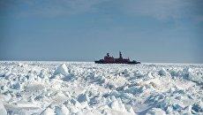 Атомный ледокол Ямал во время арктической экспедиции. Архивное фото