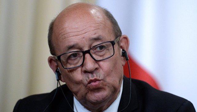 Жан-Ив Ле Дриан на пресс-конференции по итогам переговоров с Сергеем Лавровым