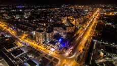 Вид на ночной Бишкек