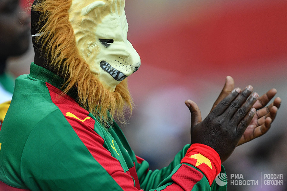 Камерунский болельщик во время матча Кубка конфедераций-2017 по футболу между сборными Камеруна и Чили