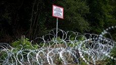 Колючая проволока на границе Венгрии и Хорватии. Архивное фото