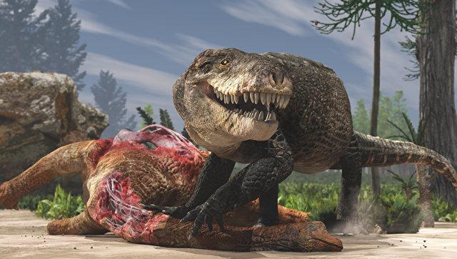 Древний гигантский крокодил Razanandrongobe sakalavae, обитавший и охотившийся на суше