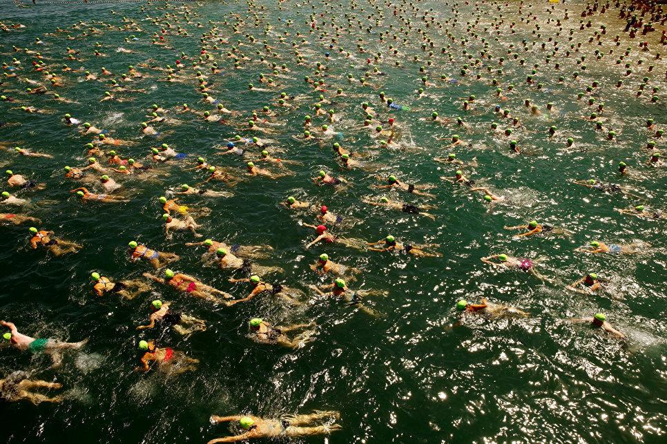 Традиционный массовый заплыв на дистанцию 1500 метров через Цюрихское озеро в Швейцарии