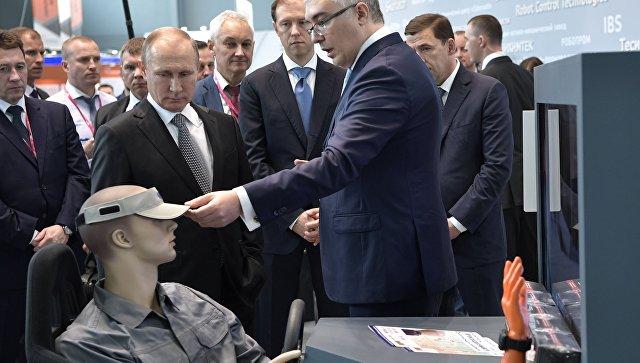 Президент РФ Владимир Путин на промышленной выставке Иннопром - 2017. 10 июля 2017