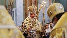 Патриарх Московский и всея Руси Кирилл проводит службу в Петропавловском соборе Санкт-Петербурга. 12 июля 2017