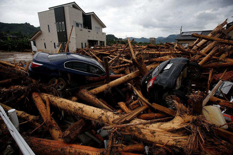 Последствия шторма в США в городе Асакура префектуры Фукуока
