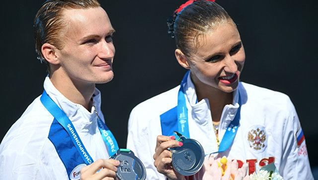 Михаэла Каланча и Александр Мальцев на церемонии награждения в Будапеште. 17 июля 2017