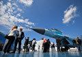 Многоцелевой истребитель МиГ-35 на Международном авиационно-космическом салоне МАКС-2017 в Жуковском. 18 июля 2017