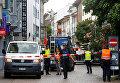 На месте нападения неизвестного человека с бензопилой в Шаффхаузене, Швейцария. 24 июля 2017