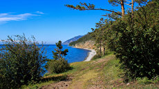 Участок туристического пешего маршрута Большая Байкальская тропа в Прибайкальском национальном парке на берегу озера Байкал. Архивное фото