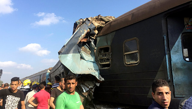 Место столкновения поездов в Египте. 11 августа 2017