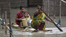Во время наводнения в Непале. 14 августа 2017