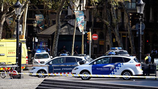 Полицейские автомобили в районе наезда микроавтобуса на пешеходов в Барселоне