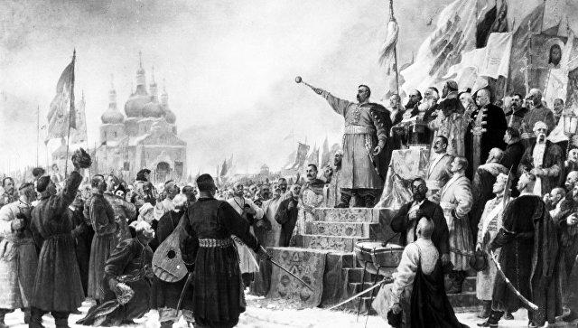 Репродукция рисунка Переяславская рада. Богдан Хмельницкий выступает за воссоединение Украины и России