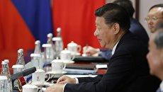 Председатель КНР Си Цзиньпин во время переговоров с президентом РФ Владимиром Путиным на полях саммита БРИКС в Сямэне. 3 сентября 2017