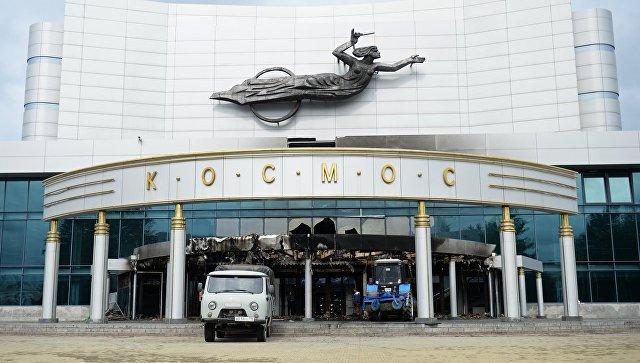 Здание киноконцертного театра Космос в Екатеринбурге, пострадавшее в результате пожара. 4 сентября 2017