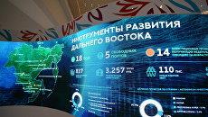 Мультимедийный экран на площадке Восточного экономического форума во Владивостоке. 6 сентября 2017