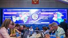 Председатель Центральной избирательной комиссии РФ Элла Памфилова (в центре) в Центральной избирательной комиссии в единый день голосования