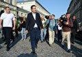 Экс-президент Грузии, бывший губернатор Одесской области Михаил Саакашвили на одной из улиц в польском Пшемышле